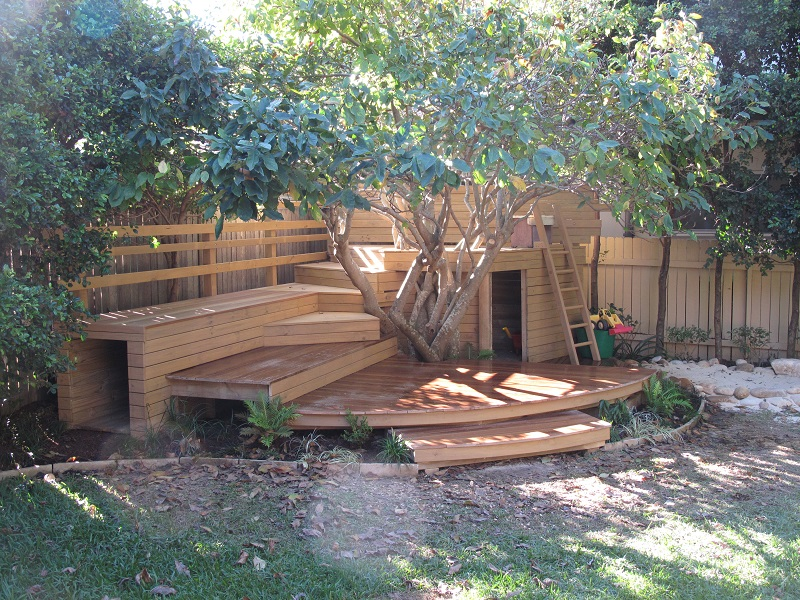kids adventure playground garden design treated pine and spotted gum decking climbing ladder sandpit tunnel and cubby house parents seating areas - Garden Design Kids